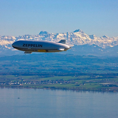 Zeppelin above the Lake of Constance